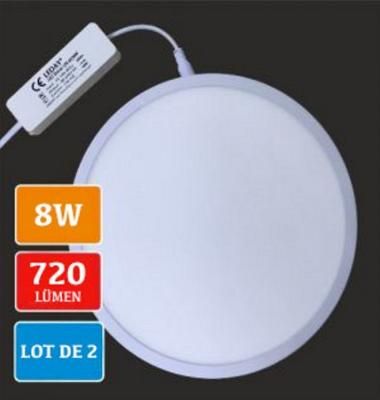 Lot de 2 plafonniers rond Led blancs